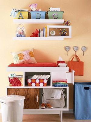 Storage shelf in kids room