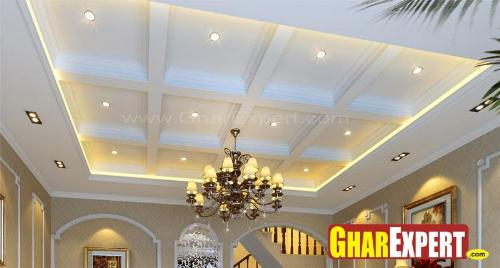 Coffered Ceiling Design with Chandelier