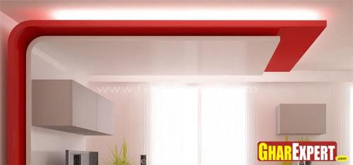 False Ceiling Design in Bold Red Color