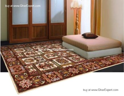 Royal Carpet series -Decorative Floral Pattern on ivory with red border area Rug