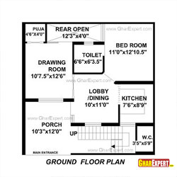 Architectural plans  Naksha  Commercial and Residential projectHouse Plan for Feet by Feet plot  Plot Size Square Yards