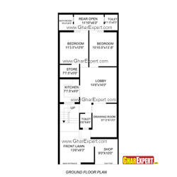 House Plan for 24 Feet by 60 Feet plot (Plot Size160 Square Yards)