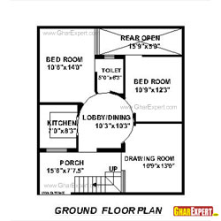 House Plan for 28 Feet by 32 Feet plot (Plot Size 100 Square Yards)
