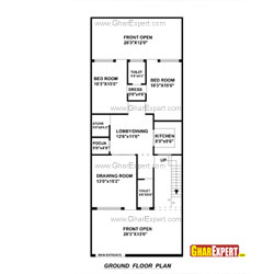 House Plan for 27 Feet by 70 Feet plot (Plot Size 210 Square Yards)