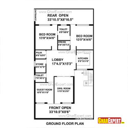 House Plan for 35 Feet by 65 Feet plot (Plot Size 253 Square Yards)