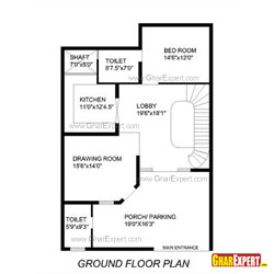 House Plan for 33 Feet by 49 Feet plot (Plot Size 170 Square Yards)