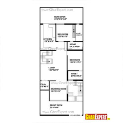 House Plan for 30 Feet by 75 Feet plot (Plot Size 250 Square Yards)