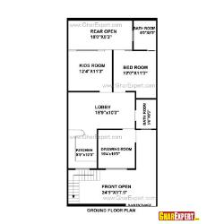House Plan for 25 Feet by 53 Feet plot (Plot Size 147 Square Yards)