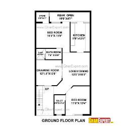 House Plan for 27 Feet by 50 Feet plot (Plot Size 150 Square Yards)