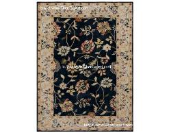 Royal Carpet series - Old classical Floral Pattern on Black background with beige border area Rug