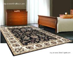 Royal Carpet series - Exceptional design Floral Pattern on Black background with ivory border area Rug