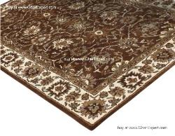 Royal Carpet series - Beautiful Floral Pattern on mustard background with ivory border area Rug