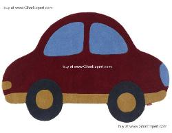 Kids Carpet series -  Palyful Car wool rug in red color