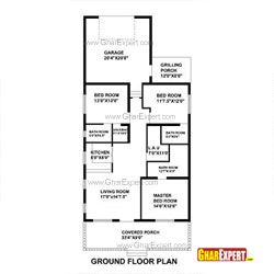 House Plan for 33 Feet by 73 Feet plot (Plot Size 268 Square Yards)