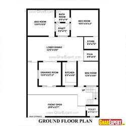 House Plan for 43 Feet by 64 Feet plot (Plot Size 306 Square Yards)