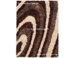 Luxury Carpet series - Beautiful and elegant striped pattern in ivory and brown colored shag rug