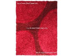 Luxury Carpet series - Stunning and hot circle pattern in red and red rose colored shag rug
