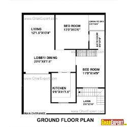 House Plan For 33 Feet By 40 Feet Plot (Plot Size 147 Square Yards)