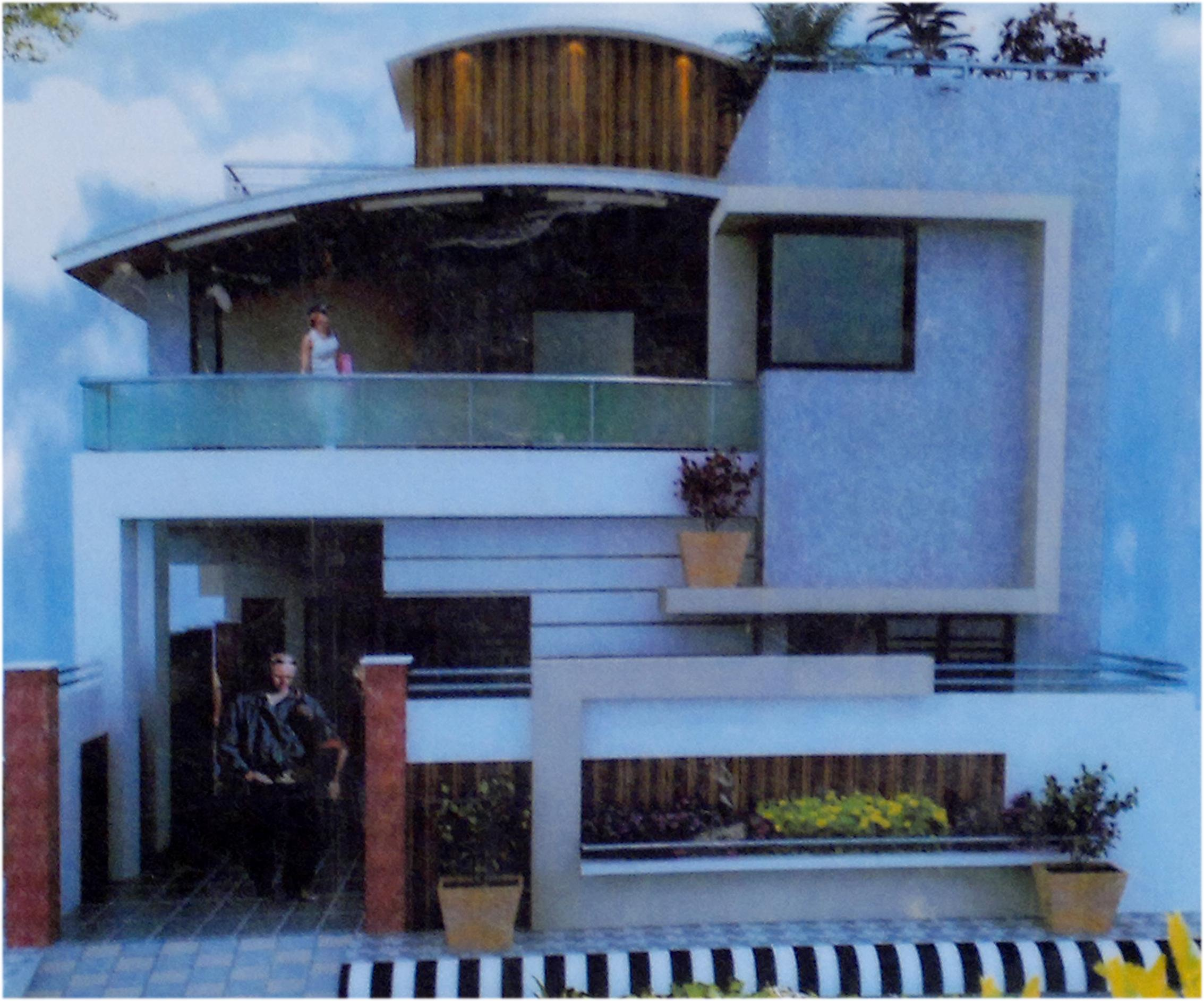 Modern Elevation design front-house-view with Curved roof - GharExpert