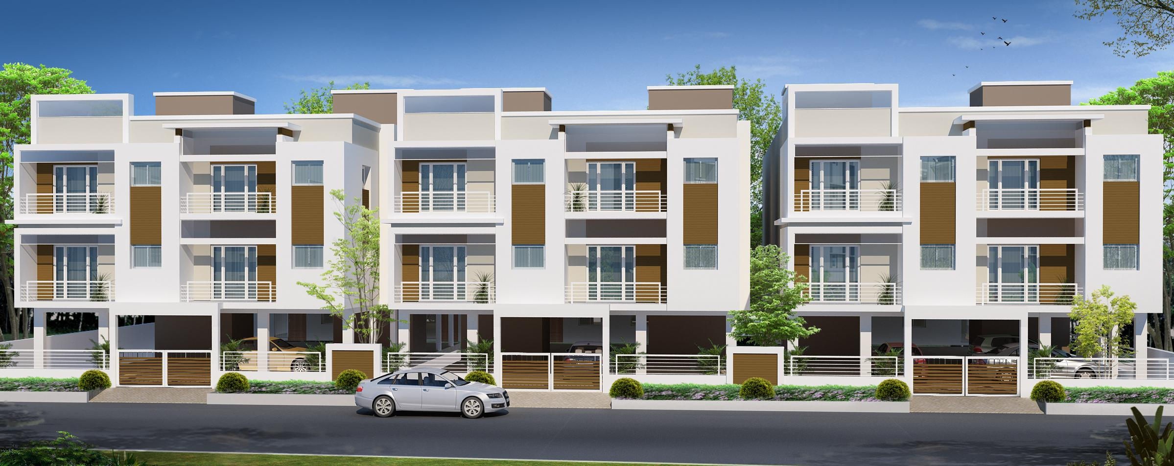 Front Elevation Row Houses : Row housing elevation design gharexpert