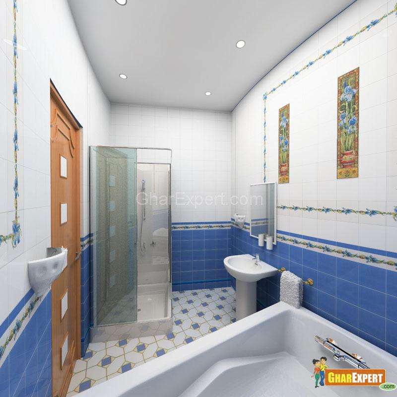 Images Of Small Bathroom Designs In India: White & Blue Feels Fresh To Eyes