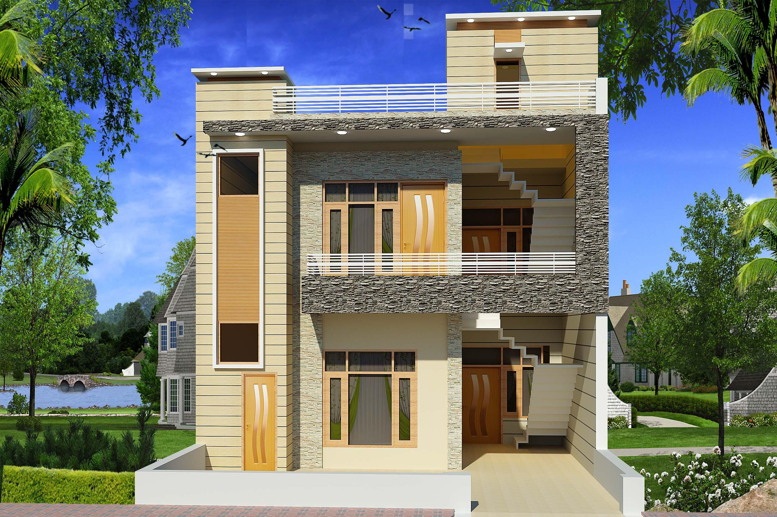 Modern home elevation design for Contemporary home elevations