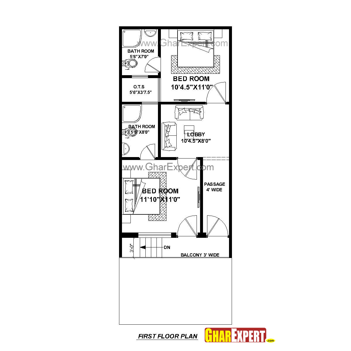 House Plan For 17 Feet By 45 Plot Size 85 Square Yards