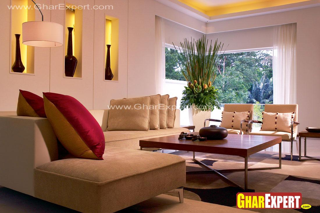 decorating niches living room living room design using niches that glow in soft golden 14087