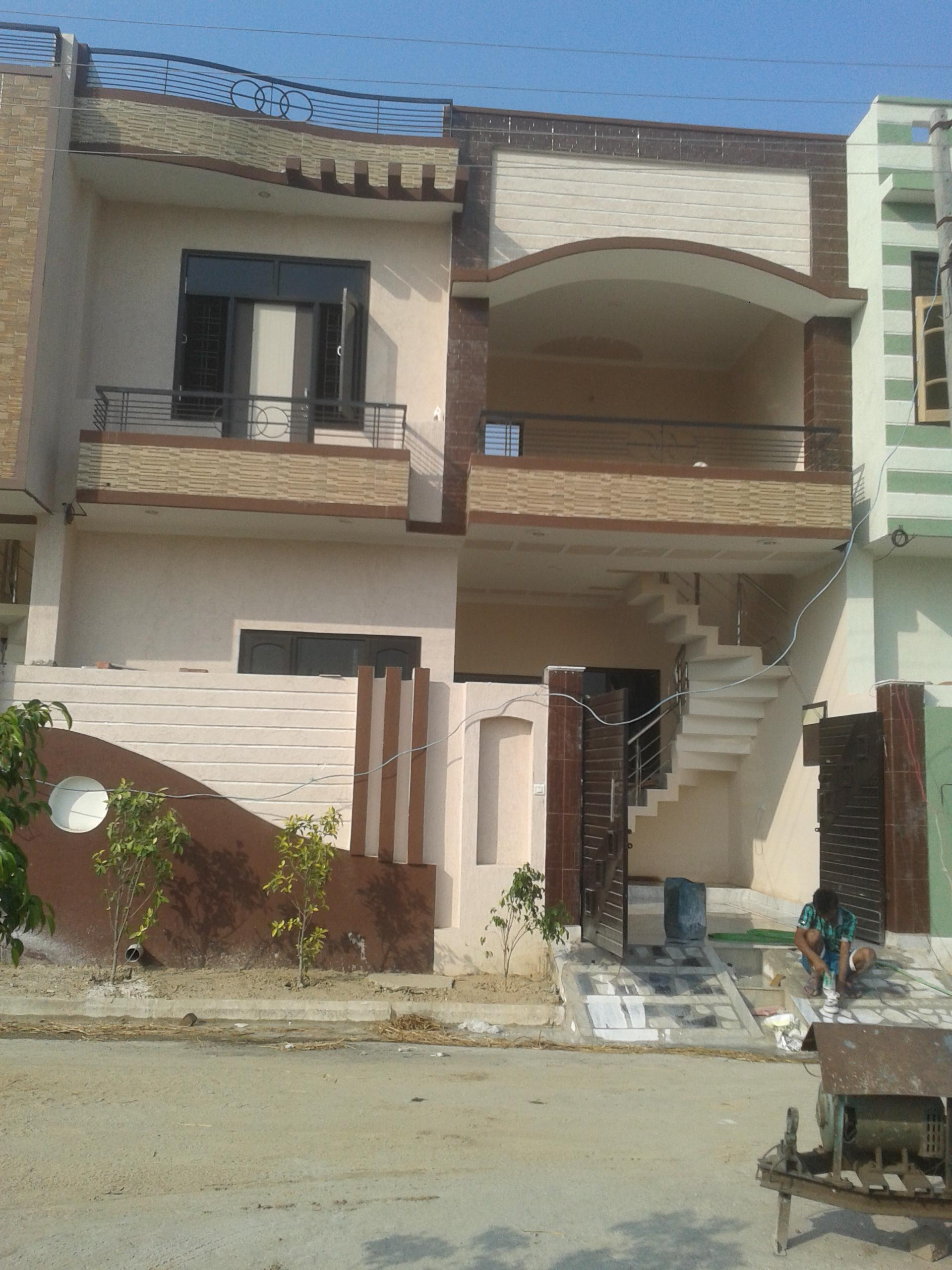 small house elevation with boundary wall with external staircase