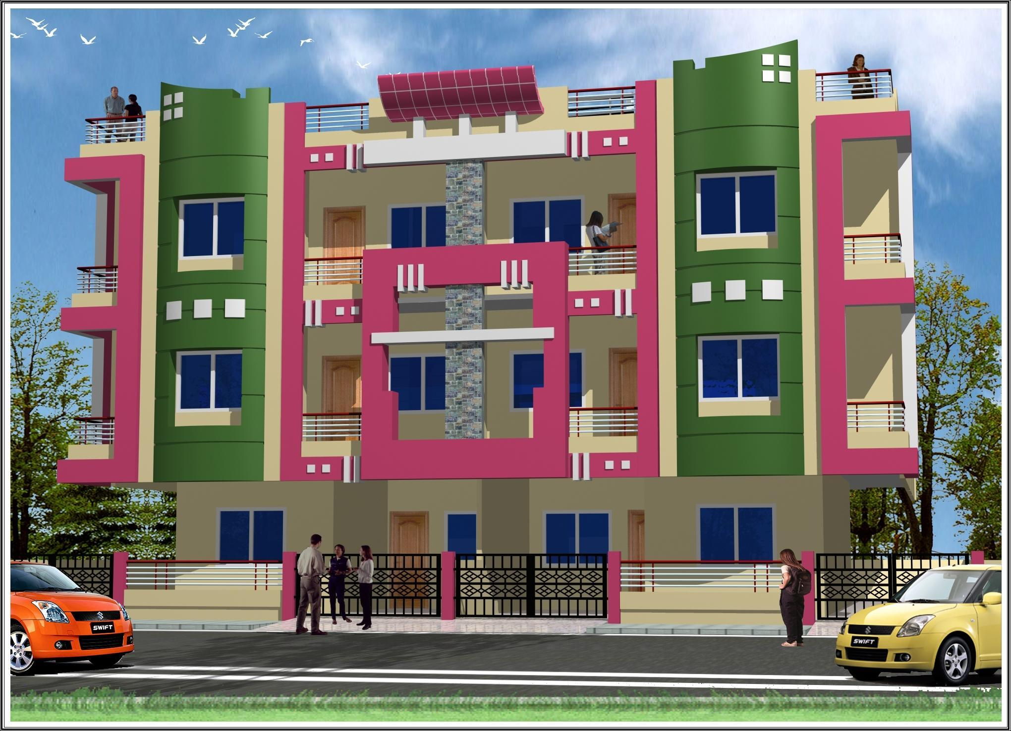 Front Elevation For All Buildings : House elevation colour combination
