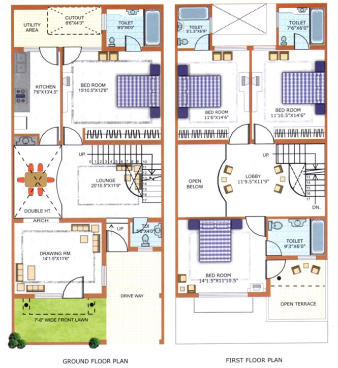 North Facing House Plans For 30x60 Site - House Plans