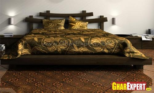 Wooden Bed Design With Stylish Headboard