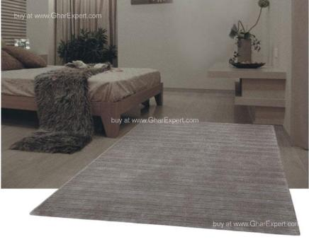 Elegant Carpet series - Earth toned Striped pattern in twin Storm color Area Rug