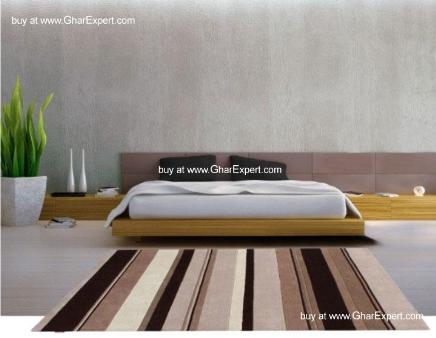 Elegant Carpet series - Shades of brown and white,  Soothing Striped pattern Area Rug