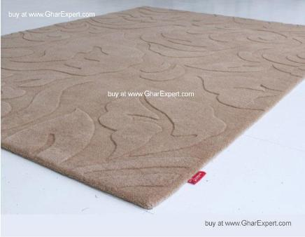 Elegant Carpet series - Ultimate  hand woven leafy pattern in beige color Area Rug
