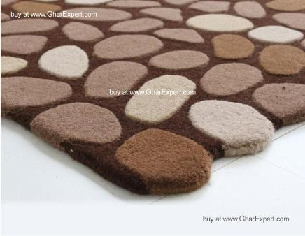 Fantasy Carpet series - Trendy modern pebble pattern area rug in beige and shades of brown