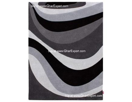 Fantasy Carpet series - styled waves pattern on black, white and shades of grey Area Rug