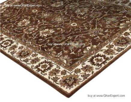 Royal Carpet series - Beautiful Floral Pattern on mustardbackground with ivory border area Rug