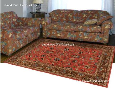 Royal Carpet series - Vibrant Floral Pattern on Red background with mustard border area Rug