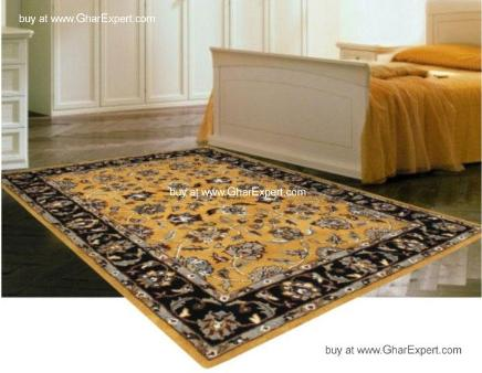 Royal Carpet series -Unique bold Floral Pattern on Yellow with black border area Rug