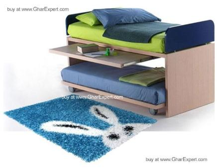 Kids Carpet series -  Bunny rabbit face rug in blue color for boys