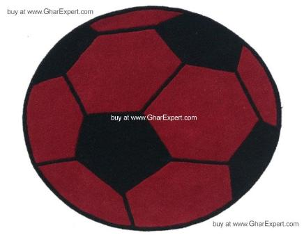Kids Carpet series - Sporty soccer rug in red and black color