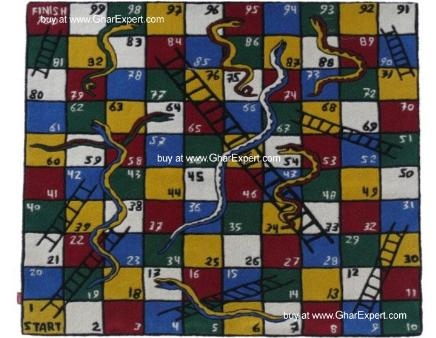 Kids Carpet series -  Playful snakes and ladders pattern area kids rug