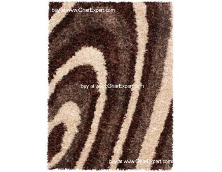Luxury Carpet series - Beautifuland elegantstriped pattern in ivory and brown colored shag rug