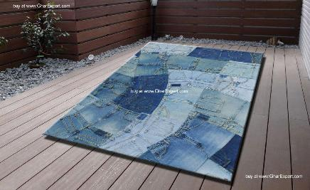 Recycled jeans carpet for children room