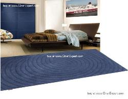 Elegant Carpet series - Single sapphire shade,  Circular pattern Area Rug