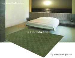 Elegant Carpet series - Soothing Single moss shade on small checkerbaord pattern area rug