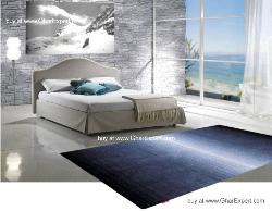 Elegant Carpet series - Very simple striped shaded pattern with shaded black, white and denim area rug