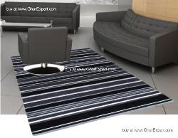 Elegant Carpet series - Black and Grey Soothing Striped pattern Area Rug