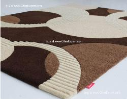 Fantasy Carpet series - Stunning circled pattern in the shades of brown Area Rug